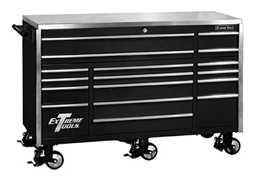 "Extreme Tools® 72"" 17 Drawer Triple Bank Professional Roller Cabinet"