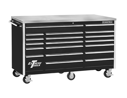 "Extreme Tools® 72"" 18 Drawer Standard Triple Bank Roller Cabinet"
