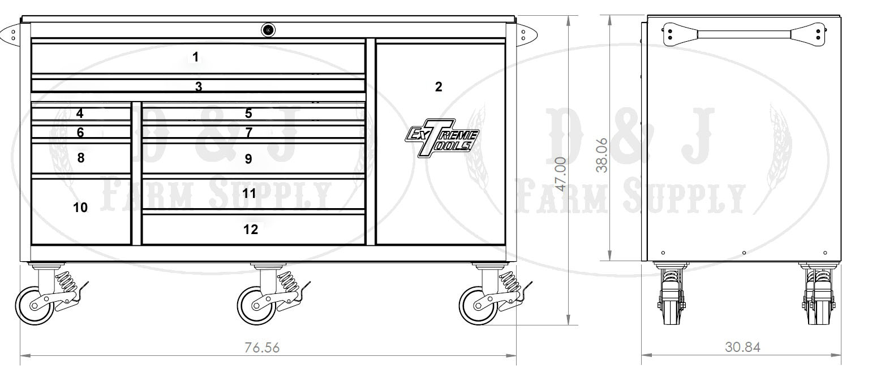 extreme tools  u00ae 76 12 drawer professional roller cabinet heavy duty adjustable metal shelves Metal Shelving